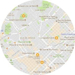 Mapa de nuestro Gaudi Barcelona Tour