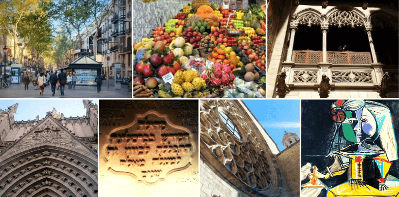 Puntos visitados en nuestro tour. Barrio Gótico, Barcelona.